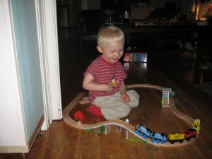 Aunt Sara and Mom put the track together